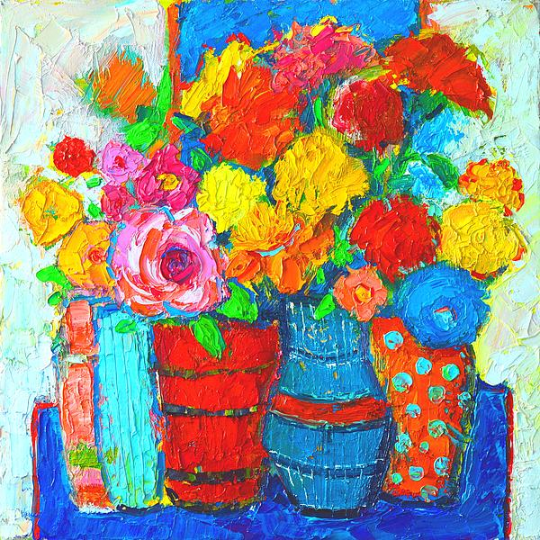 Ana Maria Edulescu - Colorful Vases And Flowers - Abstract Expressionist Painting