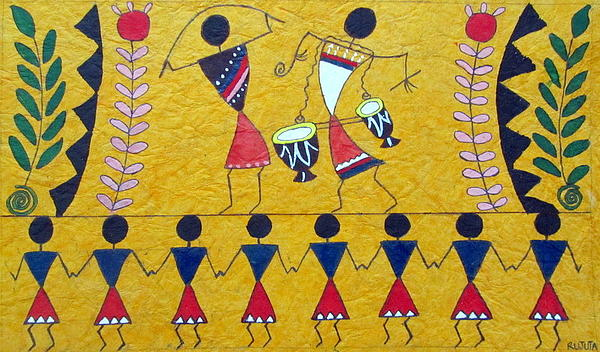 R J - Colorful Warli Happy Celebration