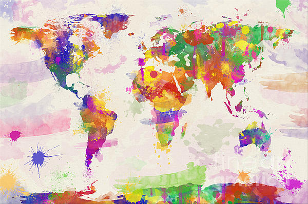 Colorful Watercolor World Map Print by Zaira Dzhaubaeva