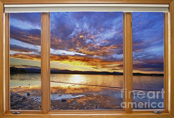 James BO  Insogna - Colorful Waterfront Classic Wood Window View