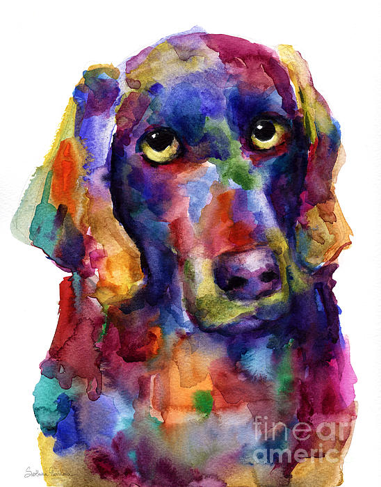 Colorful Weimaraner Dog Art Painted Portrait Painting Print by Svetlana Novikova
