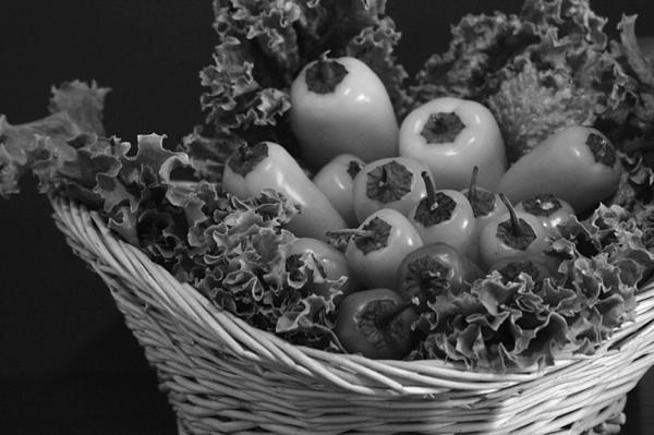 Colorless Peppers Print by Shweta Singh