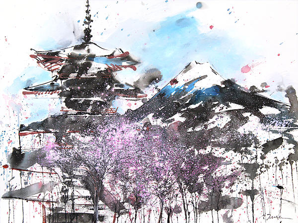 Combination No.32 Spring Time Mt.fuji And Pagoda Print by Sumiyo Toribe