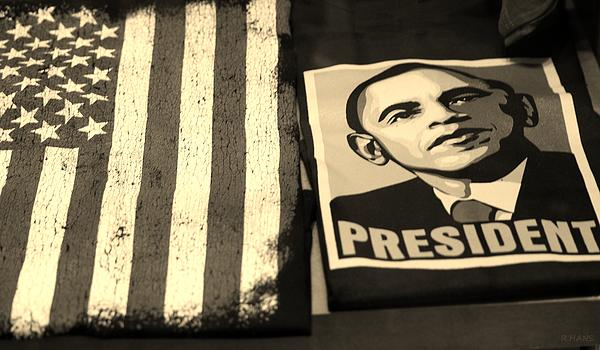 Commercialization Of The President Of The United States In Sepia Print by Rob Hans