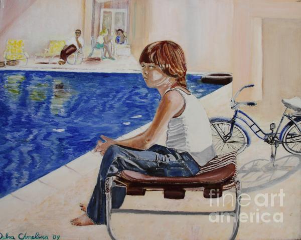 Community Pool Print by Debra Chmelina