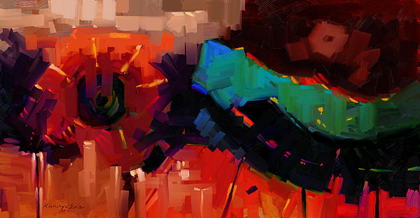 Complex 1 - Red Abstract Painting Print by Kanayo Ede