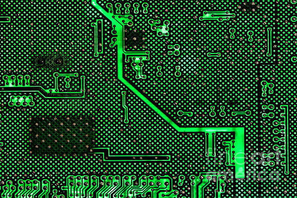 Computer Circuit Board Print by Olivier Le Queinec