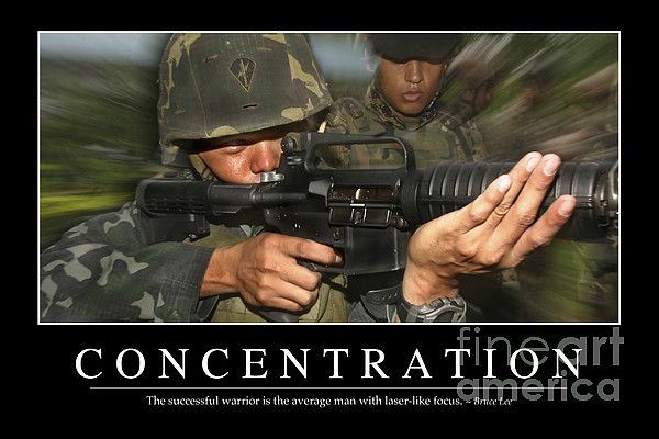 Concentration Inspirational Quote Print by Stocktrek Images