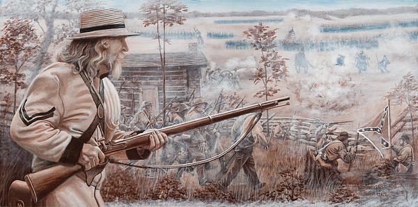 Confederate At Chickamauga Print by Alton  w Williams