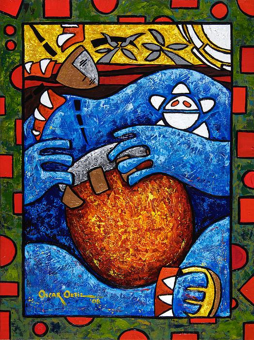 Conga On Fire Print by Oscar Ortiz