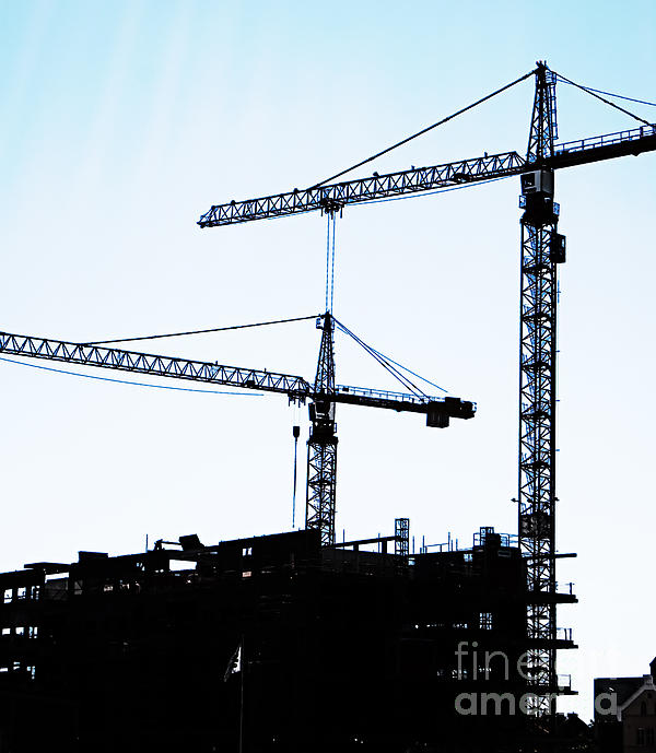 Construction Cranes Print by Antony McAulay