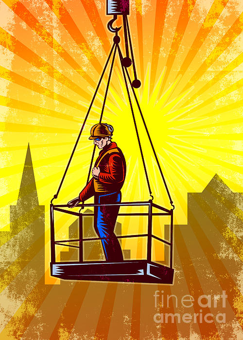 Construction Worker Platform Retro Poster Print by Aloysius Patrimonio