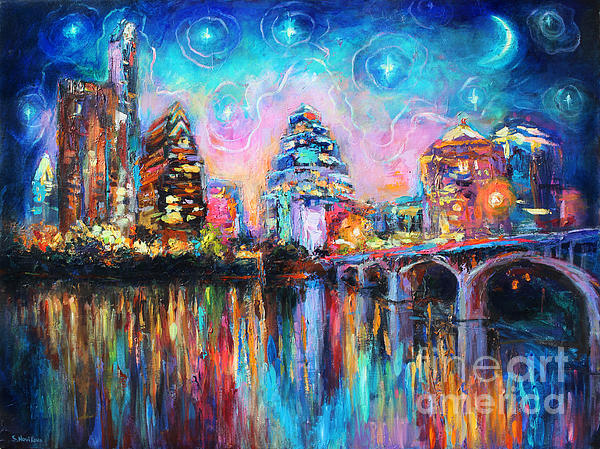 Contemporary Downtown Austin Art Painting Night Skyline Cityscape Painting Texas Print by Svetlana Novikova