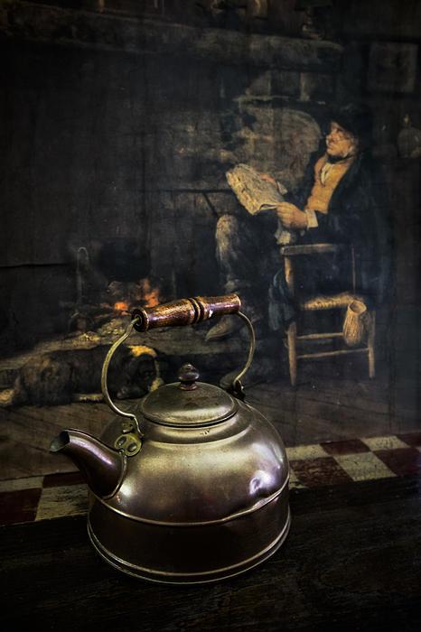 Copper Teapot Print by Debra and Dave Vanderlaan
