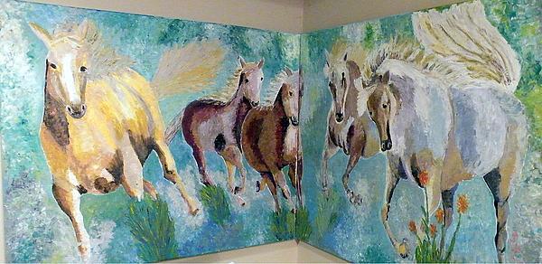 Corner Horses Print by Vicky Tarcau