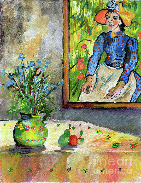 Cornflowers In French Pottery And Van Gogh Painting On Wall Print by Ginette Callaway