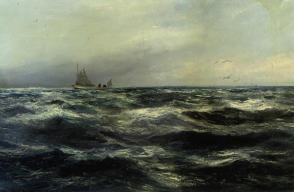 Cornish Sea And Working Boat Print by Charles William Hemy