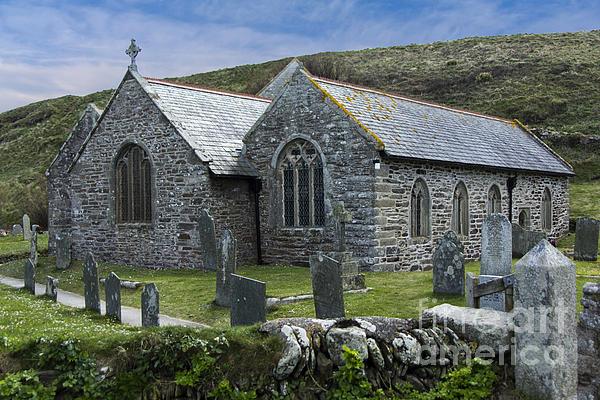 Cornish Seascape St Winwaloe Church Print by Brian Roscorla