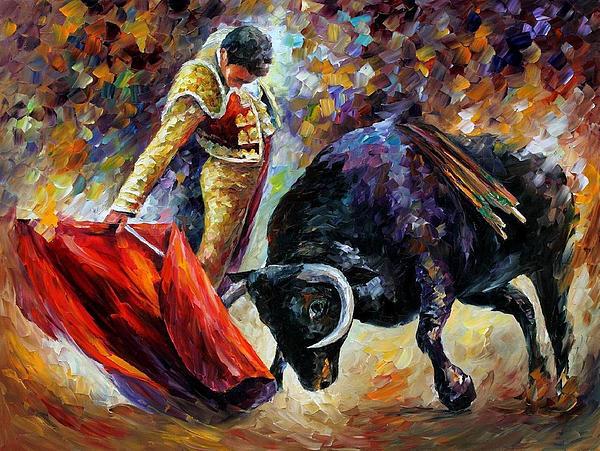 Leonid Afremov - Corrida-Dangerous Opponent - PALETTE KNIFE Oil Painting On Canvas By Leonid Afremov