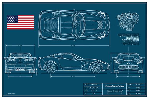 Corvette Stingray Blueplanprint Print by Douglas Switzer