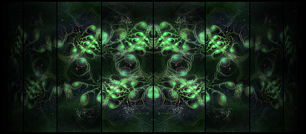Cosmic Alien Eyes Green Print by Shawn Dall