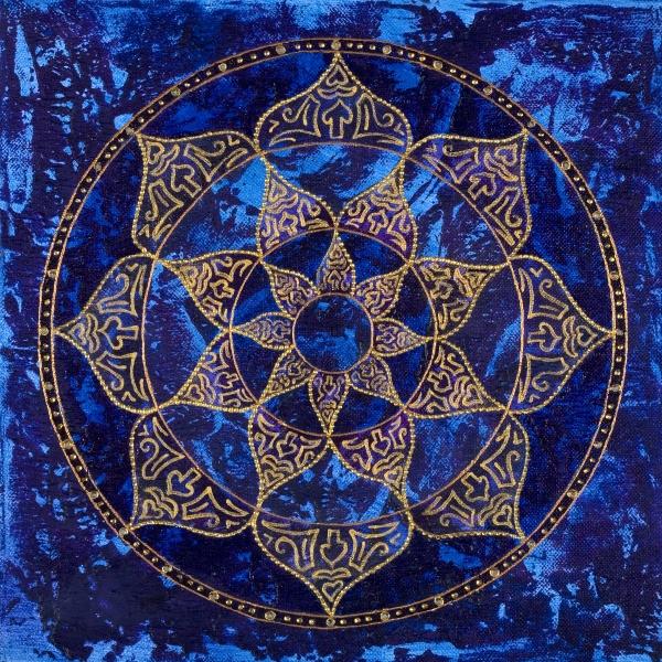Cosmic Blue Lotus Print by Charlotte Backman