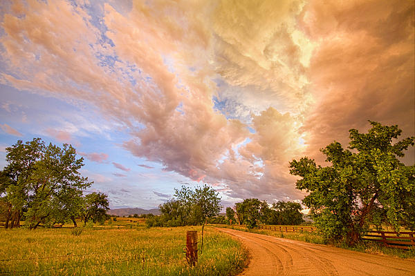 Country Road Into The Storm Front Print by James BO  Insogna