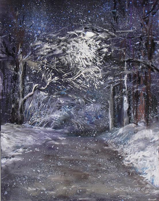 Country Road On A Wintery Night Print by Jack Skinner