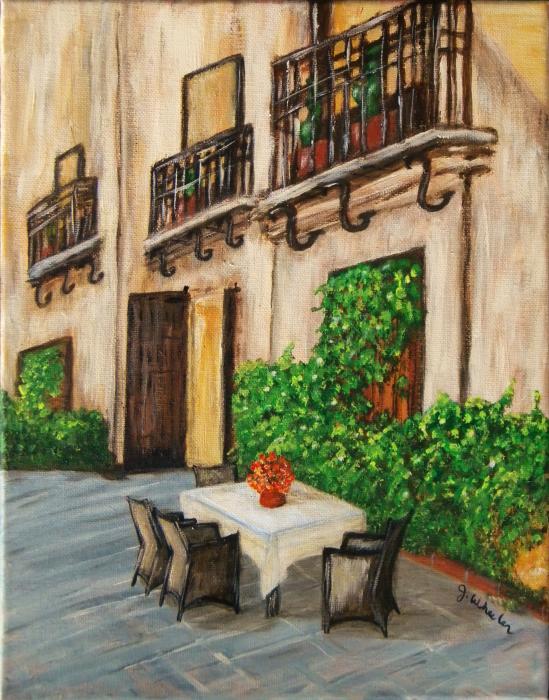 Courtyard Seating Print by JoAnn Wheeler