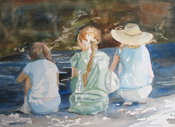 Cousins At The Brook Print by Jenny Armitage