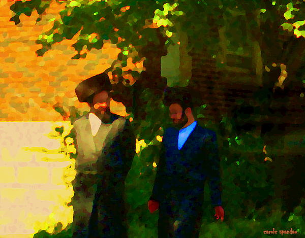 Covenant Conversation Two Men Of God Hasidic Community Montreal City Scene Rabbinical Art Carole Spa Print by Carole Spandau