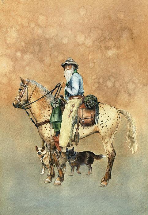 Cowboy And Appaloosa Print by Nan Wright
