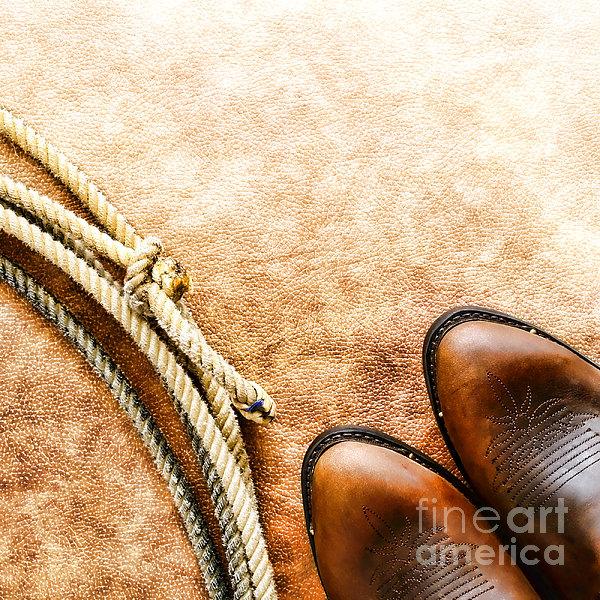 Cowboy Boots And Lasso Print by Olivier Le Queinec
