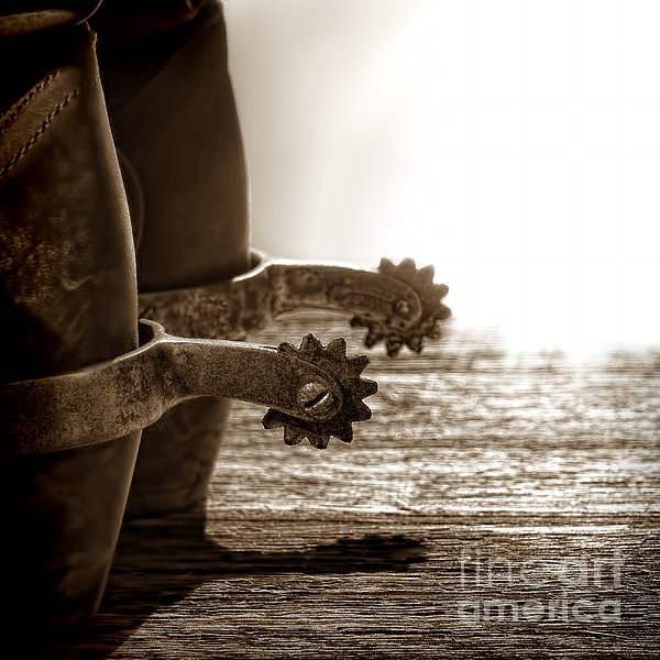 Cowboy Boots And Riding Spurs Print by Olivier Le Queinec