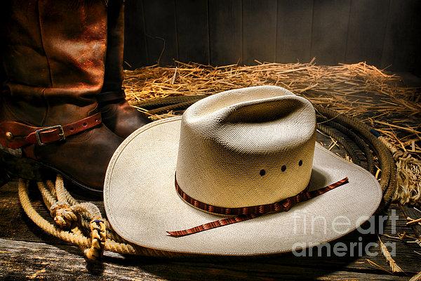 Cowboy Hat On Lasso Print by Olivier Le Queinec