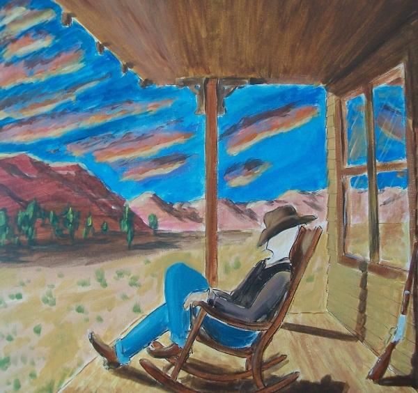 John Lyes - Cowboy Sitting in Chair at Sundown