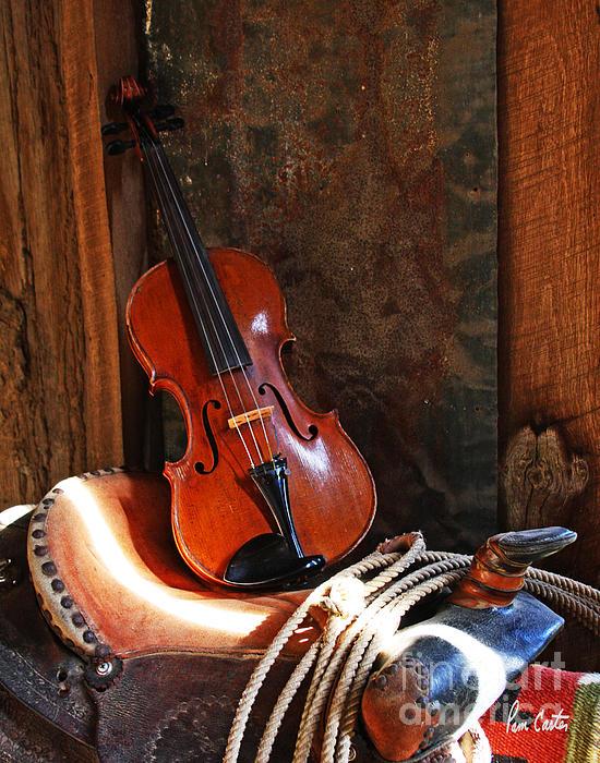 Cowboy Violin Print By Pam Carter
