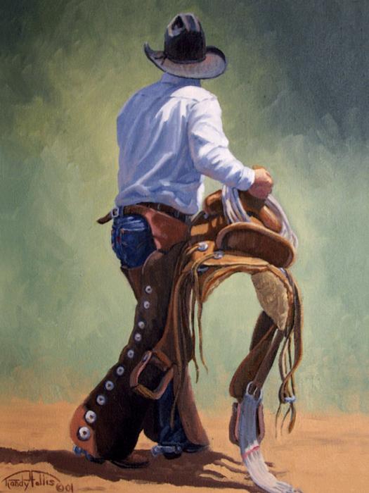 Cowboy With Saddle Print by Randy Follis