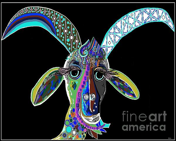 Crazy Goat On Black Background Print by Eloise Schneider