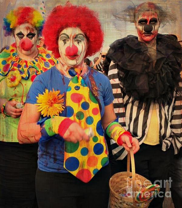 Creepy Clowns Print by Lilliana Mendez