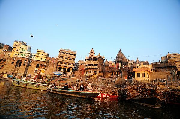 Cremation Ghat Of Varanasi Print by Money Sharma