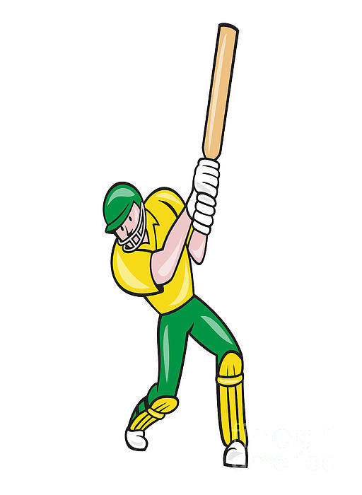 Cricket Player Batsman Batting Front Cartoon Isolated Print by Aloysius Patrimonio