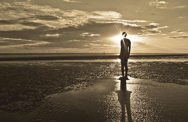 Crosby Beach Sepia Sunset Print by Paul Madden