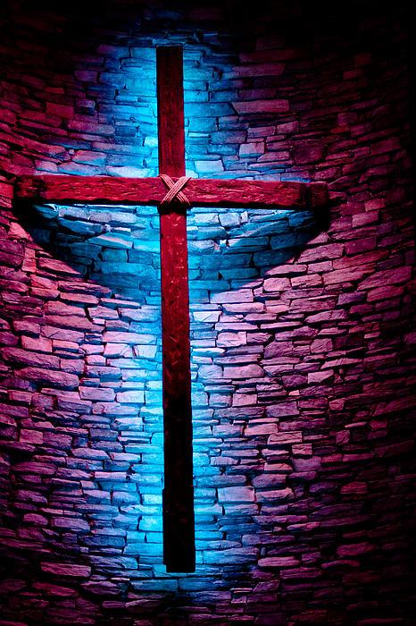 Cross In Blue Print by Randy Bayne