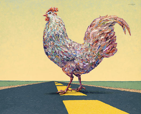 Crossing Chicken Print by James W Johnson