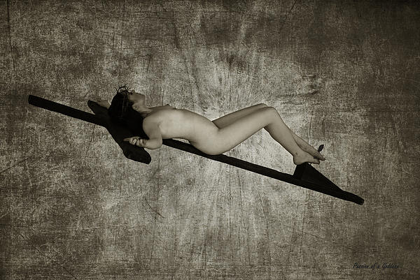 Crucified Woman In Sepia  Print by Ramon Martinez
