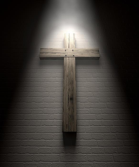 Crucifix On A Wall Under Spotlight Print by Allan Swart