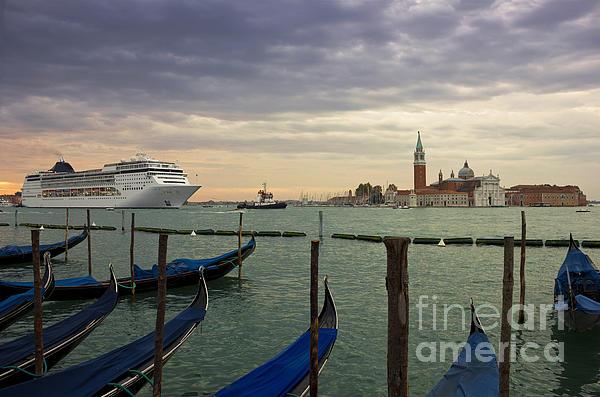 Cruise Ship Entering The Venice Lagoon At Dawn Print by Kiril Stanchev