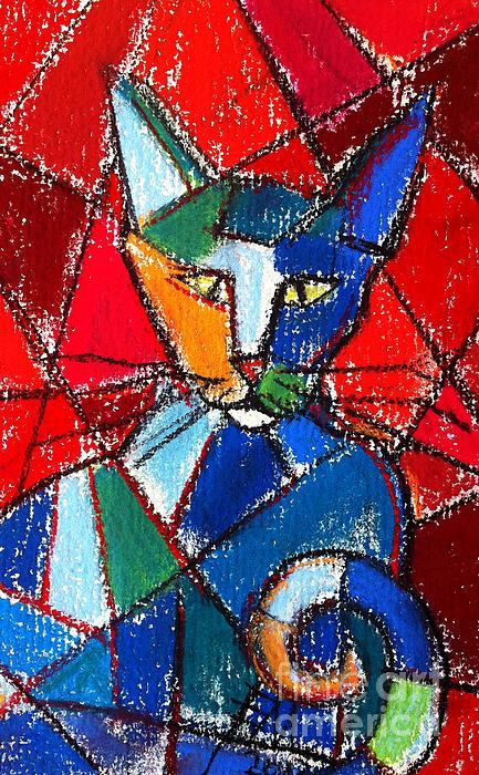 Cubist Colorful Cat Print by Mona Edulesco