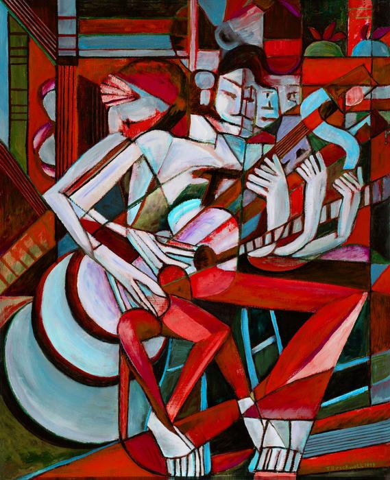 Terrie  Rockwell - Cubist Descending Guitar red